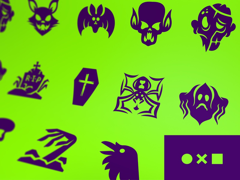 Halloween Icons Update on Noun Project vampire cat crow rip bat scare ghost coffin spider grave zombie pictograms icons project noun monsters halloween set icon