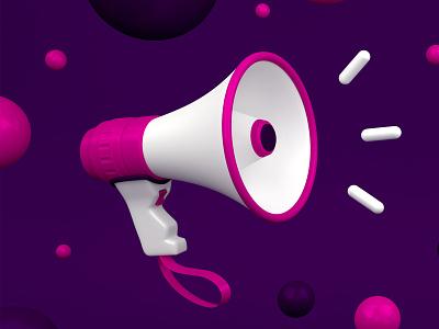 Megaphone bullhorn phone mega noise model icon sound loud megaphone purple blender 3d