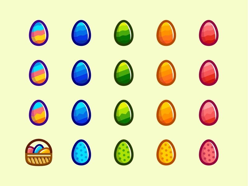 Easter Eggs Icons Set illustration graphic design vector set icons bunny yolk shell food fun color holiday basket hunt egg hunt easter eggs egg icon