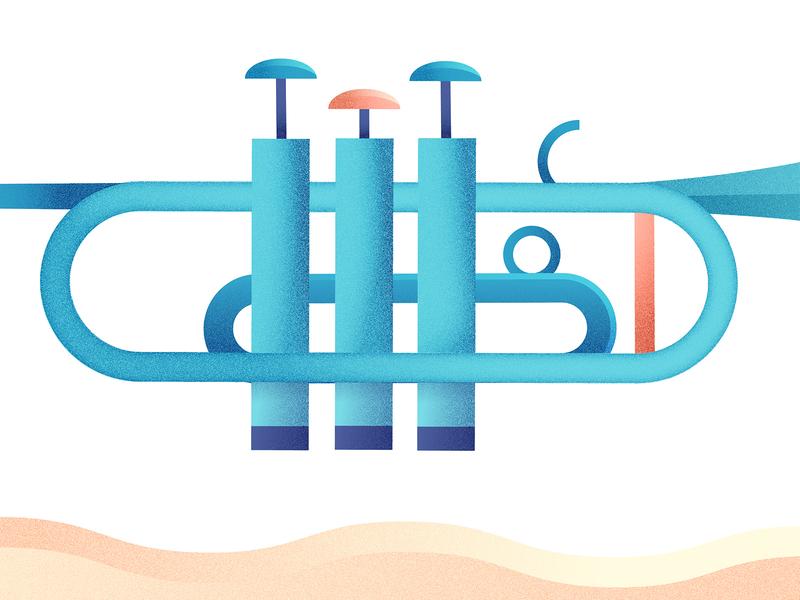 Trumpet Detail art illustration illustrator grainy noise gradient instrument movement move cascade warm wave label band colourful colour folk jazz music trumpet