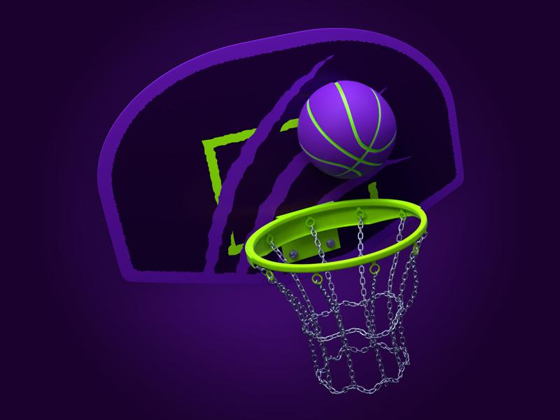 Halloween Cats Basketball Hoop model blender3d dunk logo mascot chain blender sport halloween cats purple hoop ball basketball modeling 3d