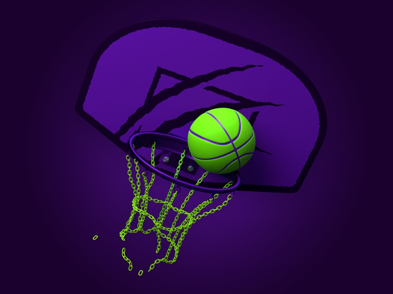 Halloween Cats Basketball Hoop sport blender3d blender 3d modeling 3d model chain dunk behance ball purple green hoop basketball