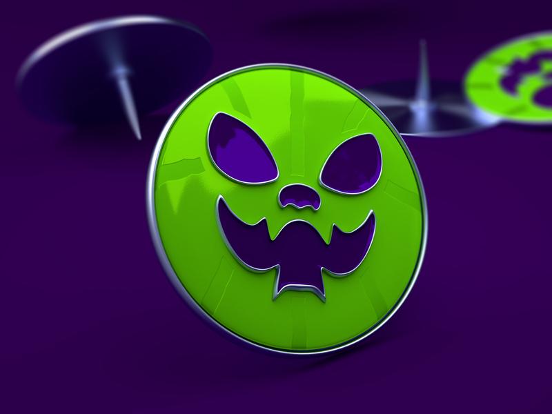Enamel Pin Halloween Cats animal face purple green 3d icon modeling 3dmodel model blender3d blender sport basketball pin enamelpin enamel cat halloween