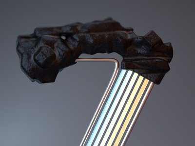 36daysoftype - Zpectrum Z Detail steel coal organic cycles procedural render 3dart 3d blender3d blender typography color colours zpectrum spectrum lettering letter z 36daysoftype 36days-z