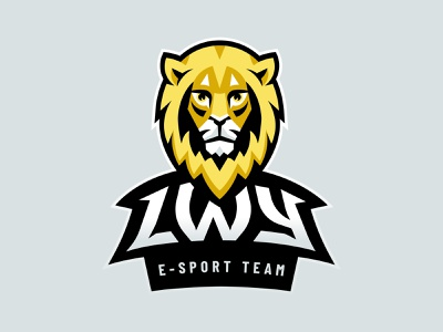 Lwy (Lions) E-Sport Team Mascot Logotype grey yellow head lion head lion logo cat animal esports esport sport lwy lion mascot logo mascot logo