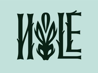 Hole Logotype nature wood rabbit letter handlettering typo caligraphy typography logotype logo hole