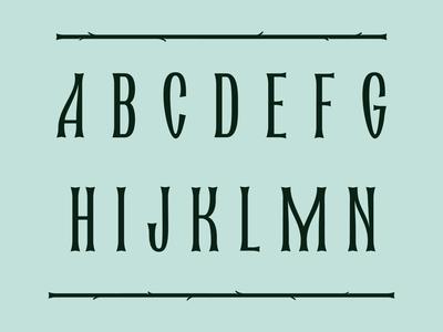 Font Herbal Nouveau allcaps font design herbal green nature hole design logo caligraphy artnouveau nouveau typography letters lettering font
