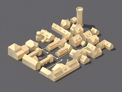 Sixth Hallven isometric 3d c4d render landscape capsicum goulash