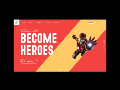 Comic con website uiux web design comic heroes comic con website design web typography design webdesign ui modern concept