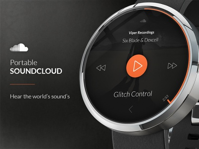 Portable SoundCloud for Moto 360 Android Watch android wear smart watch flat music player play pause stop app design user experience clean interface interface product user interface ui ux website widget watch app design