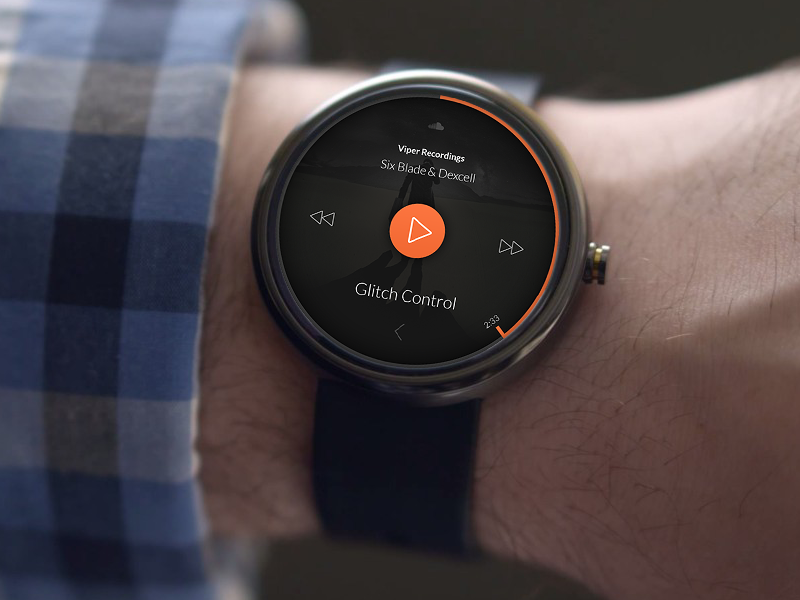 SoundCloud Concept For Android Wear watch app design website widget ui ux user interface interface product clean interface user experience app design play pause stop flat music player android wear smart watch