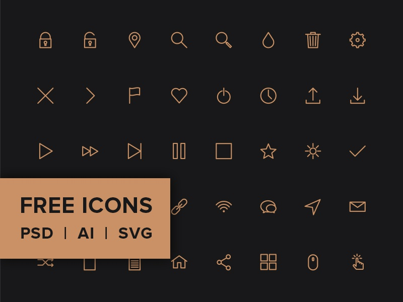 Free Line Icon Pack - PSD, AI, SVG & WEB FONT psd icons vector icons icon font png jpg svg icons pack shop service icons minimal clean web design ico icons interface ux ui user interface user experience shop store ecommerce