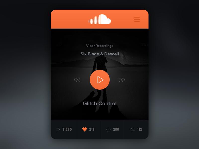 SoundCloud Widget web design website widget ui ux user interface interface product clean interface user experience app design play pause stop flat music player soundcloud redesign concept mac os widget