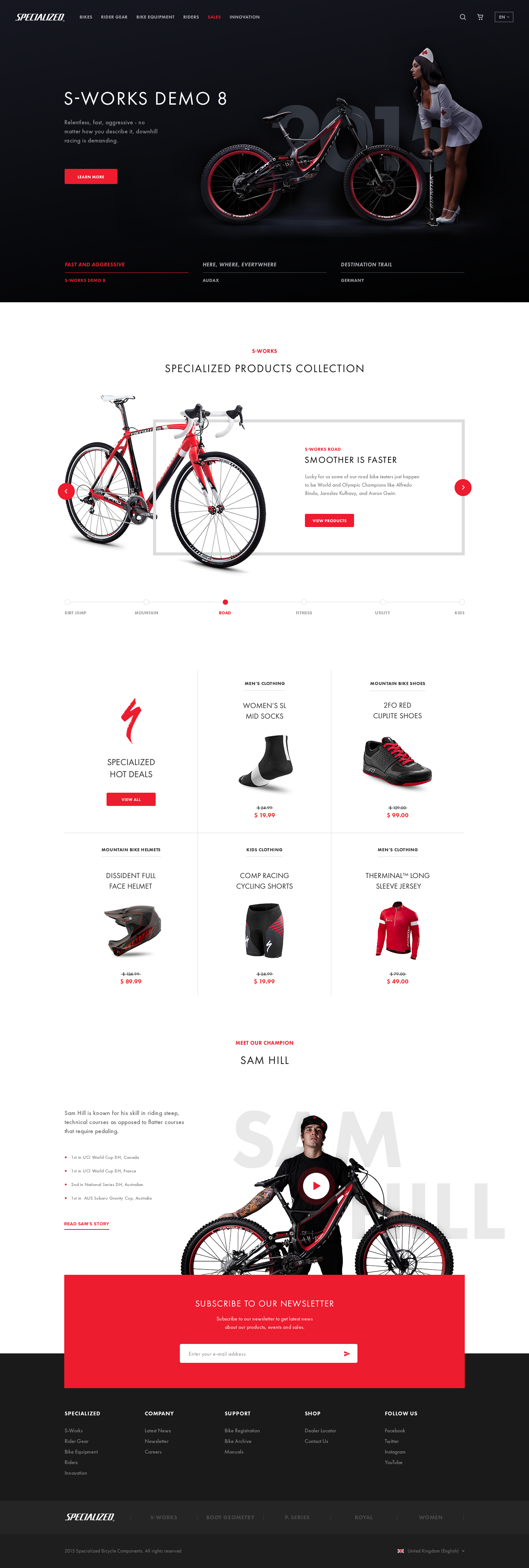 Specialized bikes landing page concept