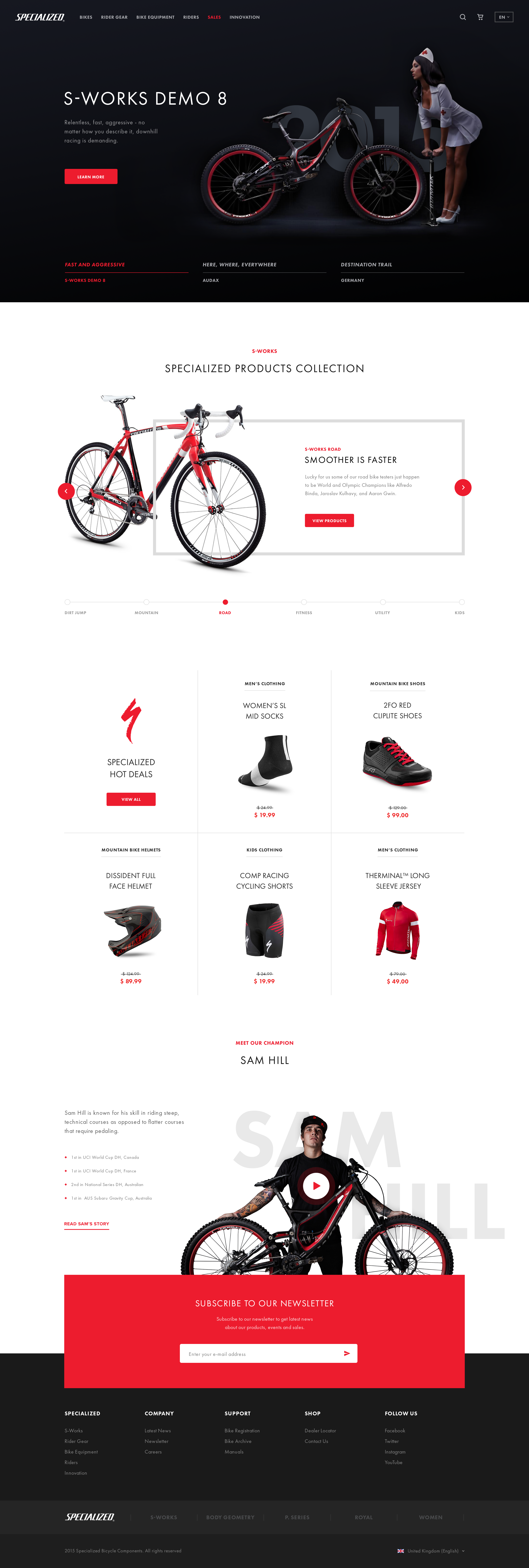 Specialized bikes landing page concept x2