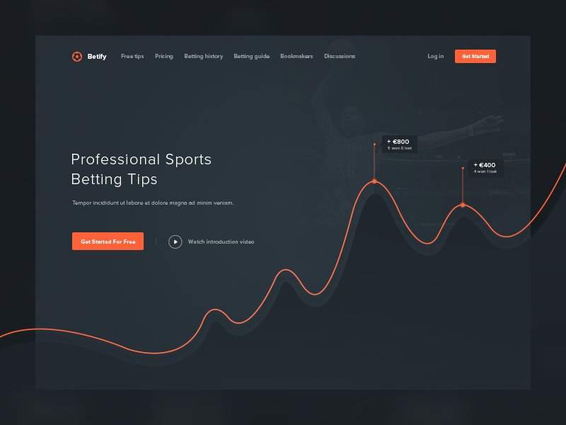 Betify Landing Page Header graph chart header online betting website bookmaker tips unit service landing page minimal clean web design red black white ux ui win betting invoice responsive design sport bets user interface user experience