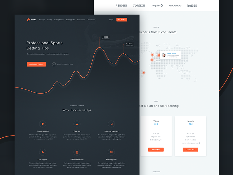 Betify Landing Page graph chart header online betting website bookmaker tips unit service landing page minimal clean web design red black white ux ui win betting invoice responsive design sport bets user interface user experience