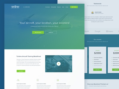 Aircraft Training Landing Page