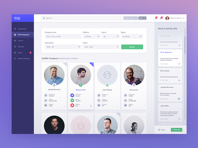 Find Prospects desktop user users bootstrap filter serach visual interface responsive web grid experience bootstrap layout design application usability analytics dashboard ux ui