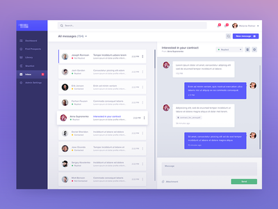 Inbox ux ui analytics dashboard design application usability bootstrap layout grid experience responsive web visual interface users messages chat bootstrap desktop mail