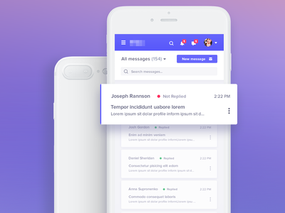 Inbox Mobile ux ui analytics dashboard design application usability bootstrap layout grid experience mobile search responsive web visual interface iphone users messages chat bootstrap android ios app mobile mail