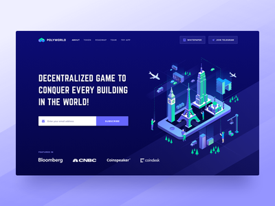 Polyworld ICO Landing Page Header blockchain cryptocurrency contribution ico roadmap token ui ux web design user interface landing page ico token crypto website game user experience visual clean design isometric illustration decentralized mobile app game
