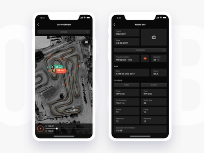 Crossbox iOS Lap Overview & Riding Day Settings motorsport athletes tracking crossbox ui app motocross tracking ux app design application design clean interface ios ios9 ios10 ios11 iphone mobile experience user experience user interface motorsport gps