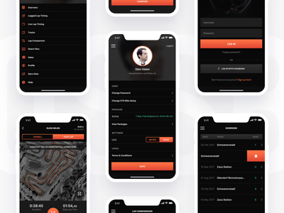 Crossbox Login and User settings pages motorsport gps user interface user experience iphone mobile experience ios ios9 ios10 ios11 clean interface application design app design motocross tracking ux crossbox ui app motorsport athletes tracking