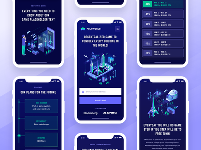 Polyworld Landing Page Mobile blockchain cryptocurrency contribution ico roadmap token ui ux web design user interface landing page ico token crypto website game user experience visual clean design isometric illustration decentralized mobile app game