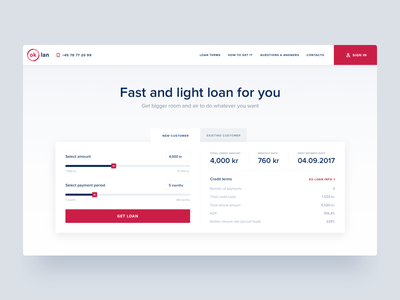 Ok Lan Landing Page Hero Section user experience user interface loan money responsive design invoice ux ui red black white minimal clean web design service landing page calculator tips unit quick loans website graph chart header