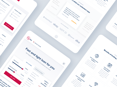 Ok Lan Homepage Tablet graph chart header quick loans website calculator tips unit service landing page minimal clean web design red black white ux ui invoice responsive design loan money user interface user experience