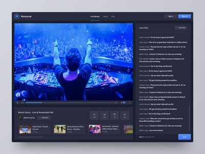 Nocturnal.tv Live Stream live stream platform edm music player web design website widget ui ux user interface interface product clean interface user experience app dashboard play pause stop flat music player