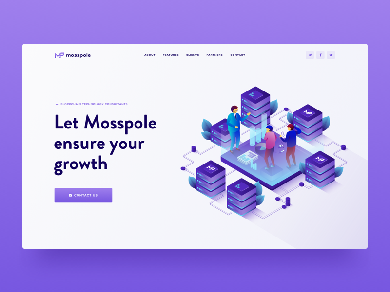 Mosspole Landing Page Header decentralized consulting isometric illustration visual clean design user experience crypto website landing page ico token web design user interface ui ux roadmap token contribution ico blockchain cryptocurrency