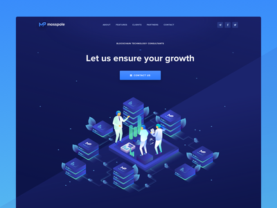 Mosspole Landing Page Header blockchain cryptocurrency contribution ico roadmap token ui ux web design user interface landing page ico token crypto website user experience visual clean design isometric illustration decentralized consulting