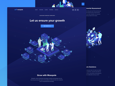 Mosspole Landing Page decentralized consulting isometric illustration visual clean design user experience crypto website landing page ico token web design user interface ui ux roadmap token contribution ico blockchain cryptocurrency