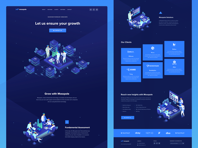 Mosspole Landing Page blockchain cryptocurrency contribution ico roadmap token ui ux web design user interface landing page ico token crypto website user experience visual clean design isometric illustration decentralized consulting