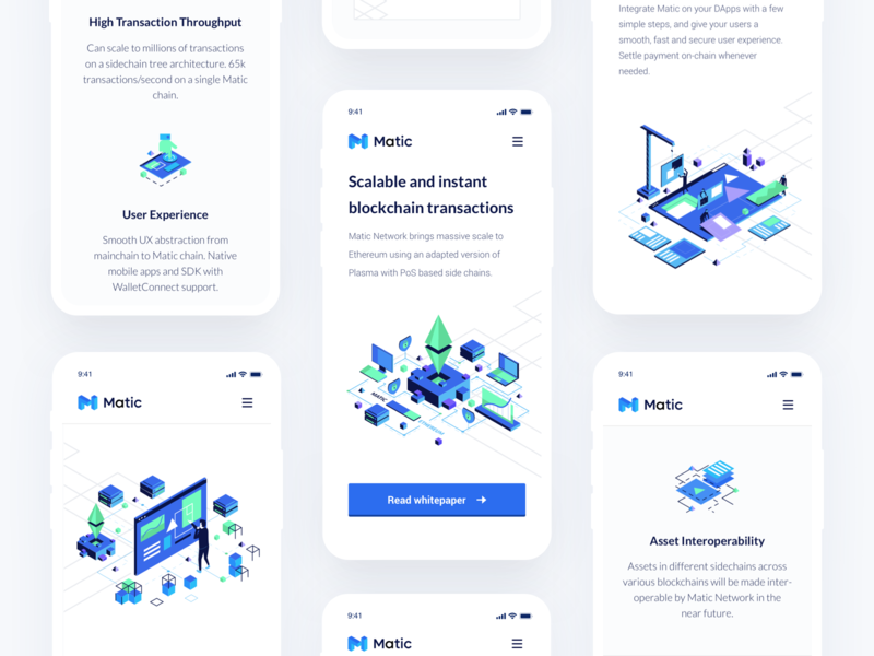 Matic Network Landing Page Mobile bitcoin blockchain website content delivery cryptocurrency crypto dark landing page ui data storage decentralized network minimal clean design security hosting platform serverless hosting ui ux
