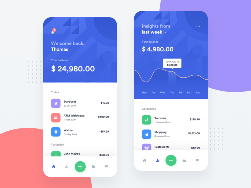 Banking App - Home & Insights product design mobile chart insights finance application transaction list credit card ios 12 app analytics dashboard money transfer wallet balance fintech startup portfolio management payments transactions currency exchange banking app