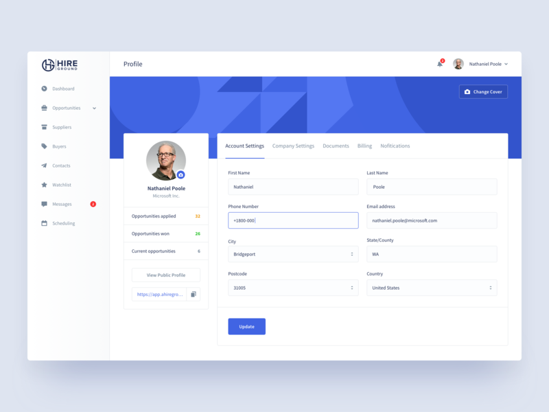 Hire Ground   Profile dashboard form product design hiring platform account billing profile settings input states web app section hire ground resource management corporate buyers suppliers saas platform e-resources