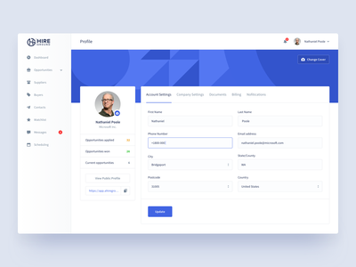 Hire Ground | Profile dashboard form product design hiring platform account billing profile settings input states web app section hire ground resource management corporate buyers suppliers saas platform e-resources