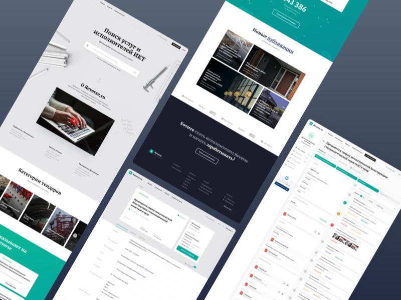 Reverse / tender platform news web comments dashboard profile landingpage home branding crm ui ux