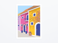 """Greek Village Street"" - illustration"