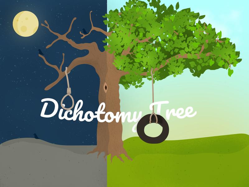 Dichotomy Tree nature typography illustration vector adobe illustrator screendesign illustraor digitaldesign design adobe photoshop adobe