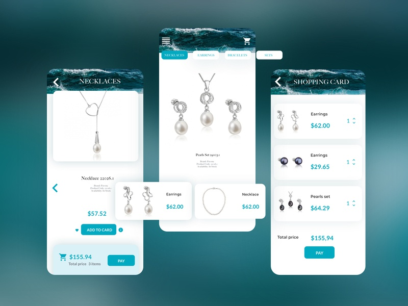 Ecommerce jewellery app pearls blue sea app design jewellery ecommerce app ecommerce