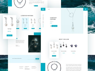 E-commerce jewellery landing page landing page sea pearls jewelry blue ecommerce design ecommerce