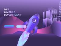 Top page illustration gradient design gradient purple uidesign allien ufo rocket vector illustration illustration