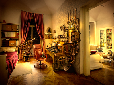 Matte Painting: the room in steampunk style illustration mattepainting room steampunk