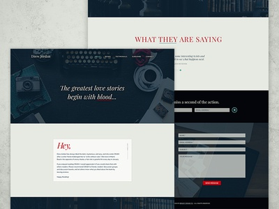 Drew Jordan modern red blue dark moody author web design website design website