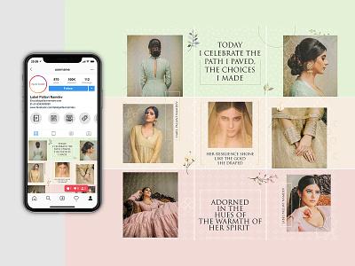 Boutique Instagram Puzzle clothing puzzle grid instagram socialmedia digital creative flat branding design