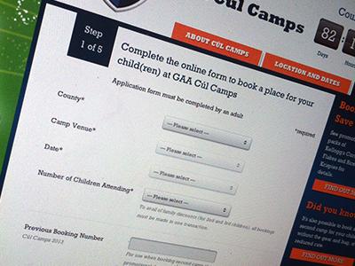 Cul Camps sports gaa website ui kelloggs form